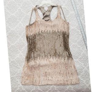 Parker Dresses - PARKER ombre neutrals racerback sequin dress